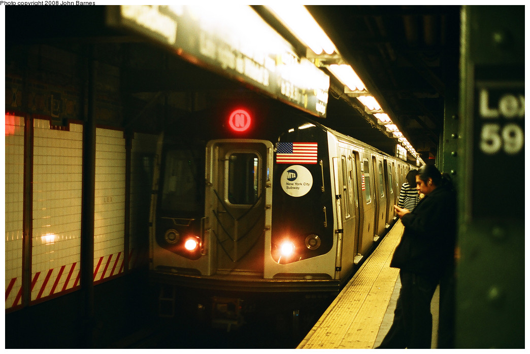 (195k, 1044x699)<br><b>Country:</b> United States<br><b>City:</b> New York<br><b>System:</b> New York City Transit<br><b>Line:</b> BMT Broadway Line<br><b>Location:</b> Lexington Avenue (59th Street) <br><b>Route:</b> N<br><b>Car:</b> R-160B (Kawasaki, 2005-2008)  8803 <br><b>Photo by:</b> John Barnes<br><b>Date:</b> 3/15/2008<br><b>Viewed (this week/total):</b> 2 / 2941