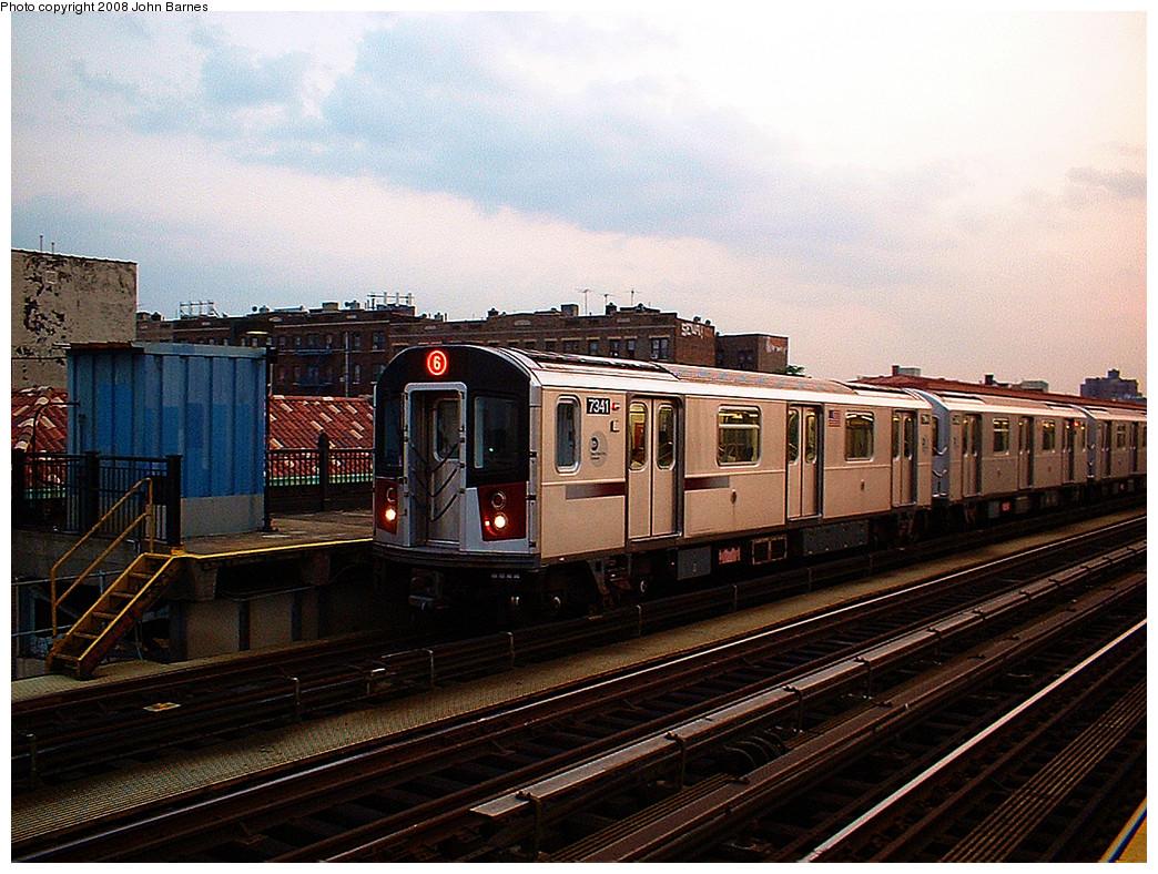(310k, 1044x788)<br><b>Country:</b> United States<br><b>City:</b> New York<br><b>System:</b> New York City Transit<br><b>Line:</b> IRT Pelham Line<br><b>Location:</b> Elder Avenue <br><b>Route:</b> 6<br><b>Car:</b> R-142A (Primary Order, Kawasaki, 1999-2002)  7341 <br><b>Photo by:</b> John Barnes<br><b>Date:</b> 5/13/2006<br><b>Viewed (this week/total):</b> 1 / 1912