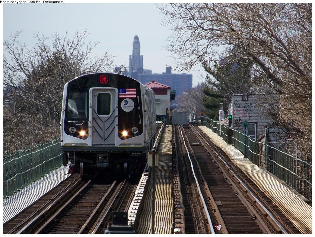 (349k, 1044x788)<br><b>Country:</b> United States<br><b>City:</b> New York<br><b>System:</b> New York City Transit<br><b>Line:</b> BMT Myrtle Avenue Line<br><b>Location:</b> Fresh Pond Road <br><b>Route:</b> M<br><b>Car:</b> R-160A-1 (Alstom, 2005-2008, 4 car sets)  8397 <br><b>Photo by:</b> Philip D'Allesandro<br><b>Date:</b> 3/22/2008<br><b>Viewed (this week/total):</b> 0 / 2501