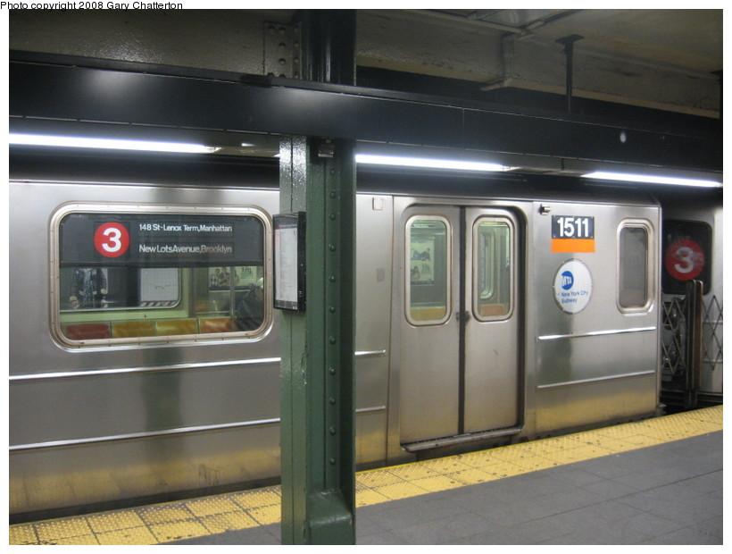 (117k, 820x620)<br><b>Country:</b> United States<br><b>City:</b> New York<br><b>System:</b> New York City Transit<br><b>Line:</b> IRT West Side Line<br><b>Location:</b> Times Square/42nd Street <br><b>Route:</b> 3<br><b>Car:</b> R-62 (Kawasaki, 1983-1985)  1511 <br><b>Photo by:</b> Gary Chatterton<br><b>Date:</b> 3/20/2008<br><b>Viewed (this week/total):</b> 2 / 3218