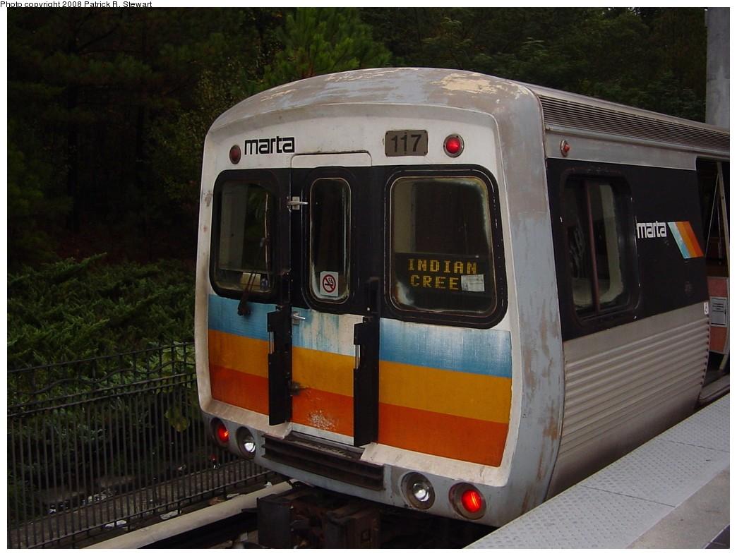 (198k, 1044x788)<br><b>Country:</b> United States<br><b>City:</b> Atlanta, GA<br><b>System:</b> MARTA<br><b>Line:</b> East-West Line <br><b>Location:</b> Indian Creek <br><b>Car:</b> MARTA CQ310 117 <br><b>Photo by:</b> Patrick R. Stewart<br><b>Date:</b> 10/25/2007<br><b>Viewed (this week/total):</b> 0 / 1521