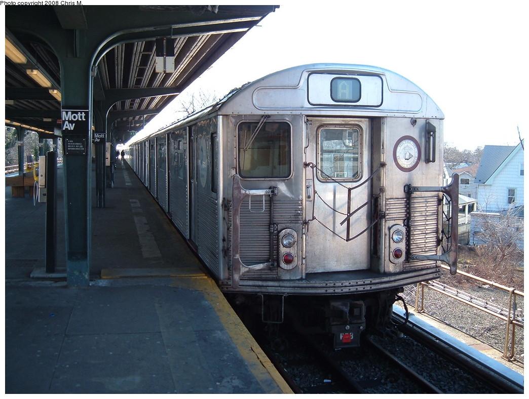 (241k, 1044x788)<br><b>Country:</b> United States<br><b>City:</b> New York<br><b>System:</b> New York City Transit<br><b>Line:</b> IND Rockaway<br><b>Location:</b> Mott Avenue/Far Rockaway <br><b>Route:</b> A<br><b>Car:</b> R-38 (St. Louis, 1966-1967)  3966 <br><b>Photo by:</b> Chris M.<br><b>Date:</b> 3/9/2008<br><b>Viewed (this week/total):</b> 0 / 1581