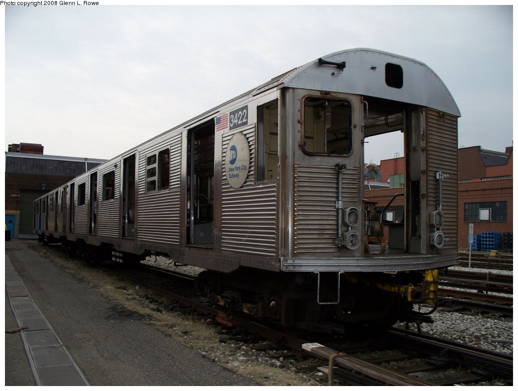 (191k, 1044x788)<br><b>Country:</b> United States<br><b>City:</b> New York<br><b>System:</b> New York City Transit<br><b>Location:</b> 207th Street Yard<br><b>Car:</b> R-32 (Budd, 1964)  3422 <br><b>Photo by:</b> Glenn L. Rowe<br><b>Date:</b> 3/28/2008<br><b>Viewed (this week/total):</b> 0 / 4113