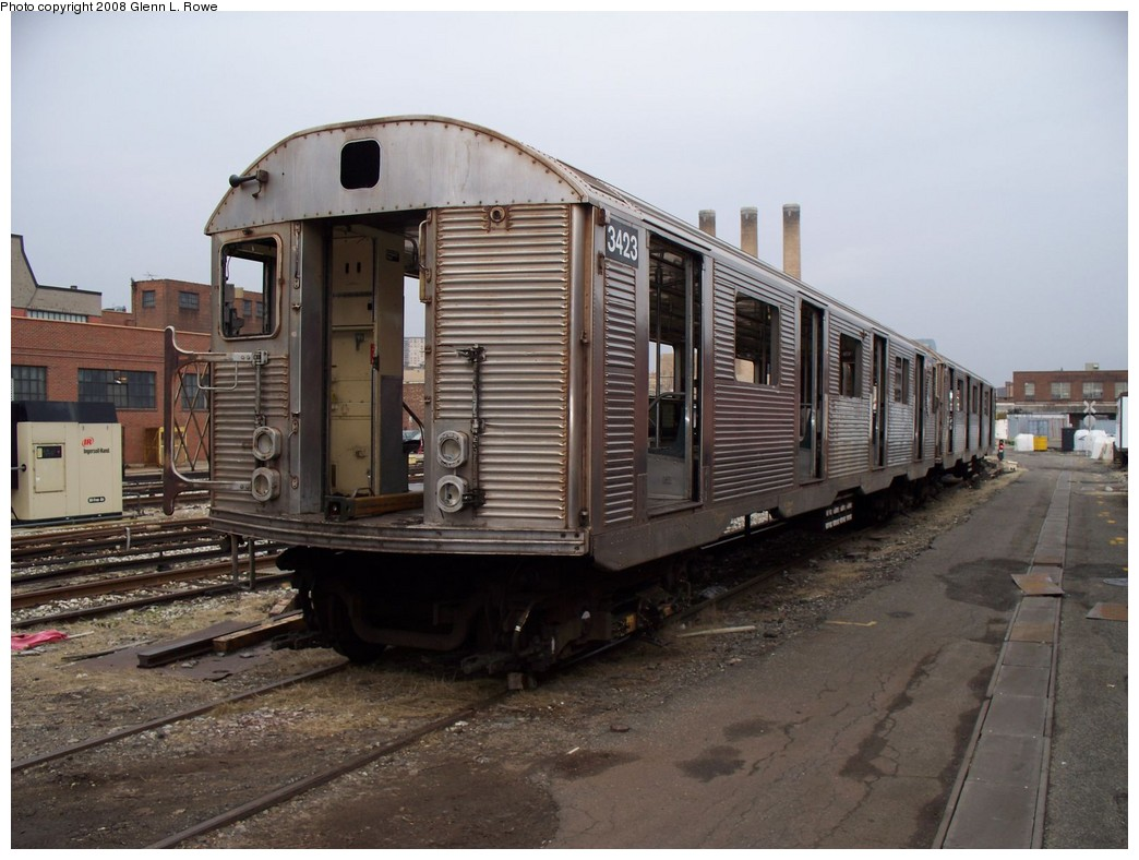 (199k, 1044x788)<br><b>Country:</b> United States<br><b>City:</b> New York<br><b>System:</b> New York City Transit<br><b>Location:</b> 207th Street Yard<br><b>Car:</b> R-32 (Budd, 1964)  3423 <br><b>Photo by:</b> Glenn L. Rowe<br><b>Date:</b> 3/28/2008<br><b>Viewed (this week/total):</b> 2 / 1867