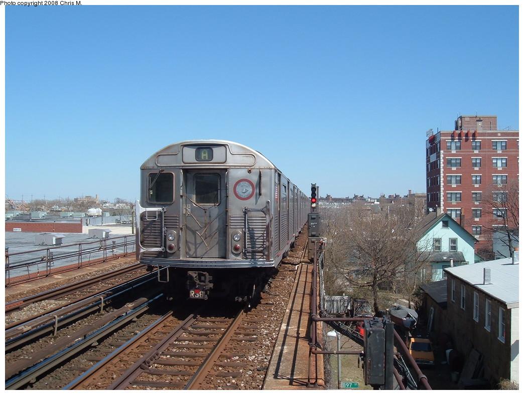 (241k, 1044x788)<br><b>Country:</b> United States<br><b>City:</b> New York<br><b>System:</b> New York City Transit<br><b>Line:</b> IND Rockaway<br><b>Location:</b> Beach 98th Street/Playland <br><b>Route:</b> A<br><b>Car:</b> R-38 (St. Louis, 1966-1967)   <br><b>Photo by:</b> Chris M.<br><b>Date:</b> 3/29/2008<br><b>Viewed (this week/total):</b> 1 / 2034