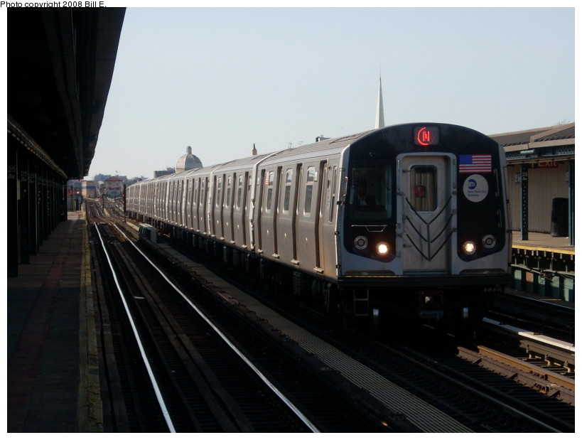 (130k, 819x619)<br><b>Country:</b> United States<br><b>City:</b> New York<br><b>System:</b> New York City Transit<br><b>Line:</b> BMT West End Line<br><b>Location:</b> 25th Avenue <br><b>Route:</b> N reroute<br><b>Car:</b> R-160A/R-160B Series (Number Unknown)  <br><b>Photo by:</b> Bill E.<br><b>Date:</b> 3/23/2008<br><b>Viewed (this week/total):</b> 0 / 1718