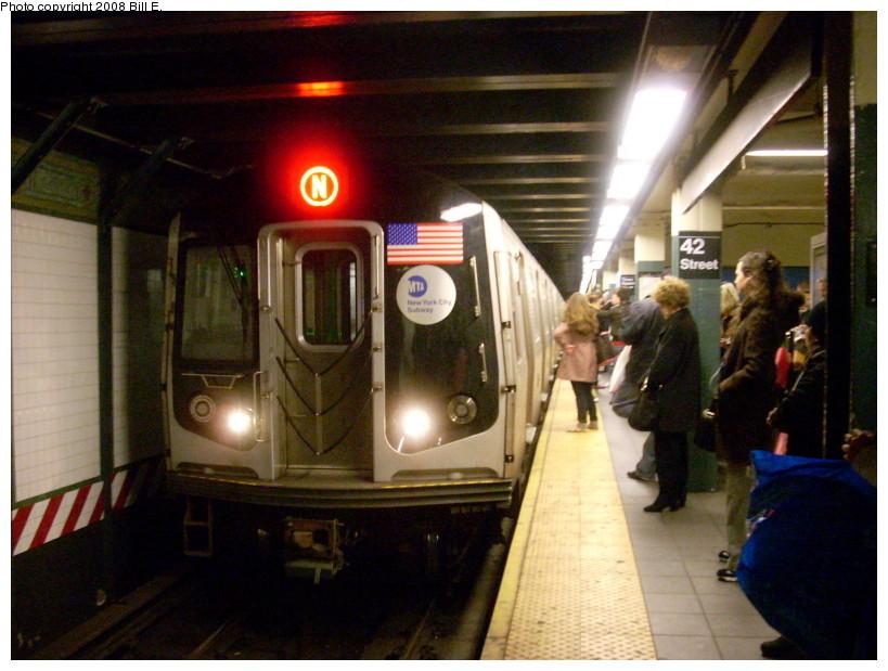 (167k, 819x619)<br><b>Country:</b> United States<br><b>City:</b> New York<br><b>System:</b> New York City Transit<br><b>Line:</b> BMT Broadway Line<br><b>Location:</b> Times Square/42nd Street <br><b>Route:</b> N<br><b>Car:</b> R-160A/R-160B Series (Number Unknown)  <br><b>Photo by:</b> Bill E.<br><b>Date:</b> 3/29/2008<br><b>Viewed (this week/total):</b> 5 / 3481