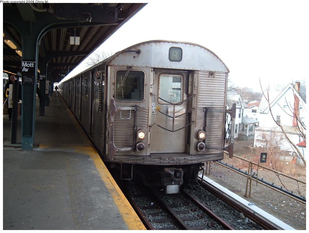 (241k, 1044x788)<br><b>Country:</b> United States<br><b>City:</b> New York<br><b>System:</b> New York City Transit<br><b>Line:</b> IND Rockaway<br><b>Location:</b> Mott Avenue/Far Rockaway <br><b>Route:</b> A<br><b>Car:</b> R-32 (Budd, 1964)  3371 <br><b>Photo by:</b> Chris M.<br><b>Date:</b> 1/29/2008<br><b>Viewed (this week/total):</b> 1 / 1157