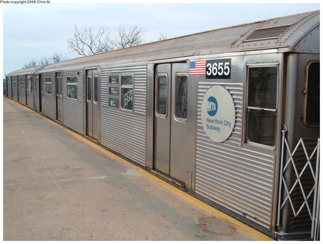 (261k, 1044x788)<br><b>Country:</b> United States<br><b>City:</b> New York<br><b>System:</b> New York City Transit<br><b>Line:</b> IND Rockaway<br><b>Location:</b> Mott Avenue/Far Rockaway <br><b>Route:</b> A<br><b>Car:</b> R-32 (Budd, 1964)  3655 <br><b>Photo by:</b> Chris M.<br><b>Date:</b> 1/29/2008<br><b>Viewed (this week/total):</b> 0 / 1282