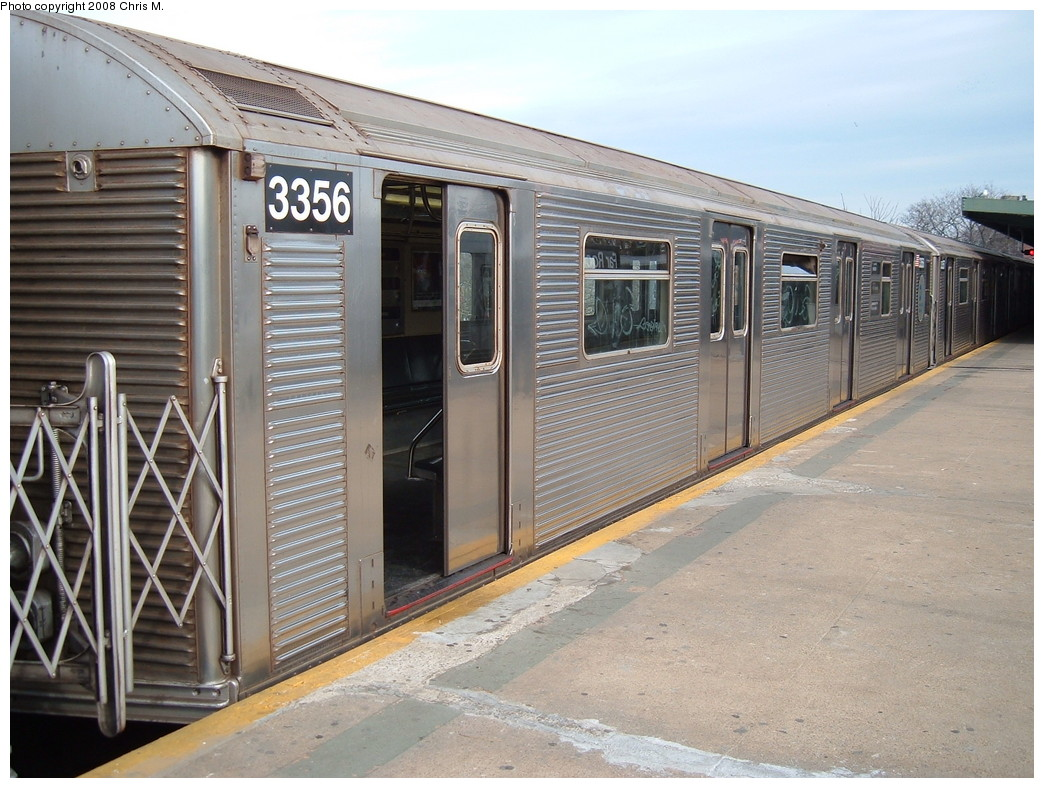 (242k, 1044x788)<br><b>Country:</b> United States<br><b>City:</b> New York<br><b>System:</b> New York City Transit<br><b>Line:</b> IND Rockaway<br><b>Location:</b> Mott Avenue/Far Rockaway <br><b>Route:</b> A<br><b>Car:</b> R-32 (Budd, 1964)  3356 <br><b>Photo by:</b> Chris M.<br><b>Date:</b> 1/29/2008<br><b>Viewed (this week/total):</b> 0 / 1414