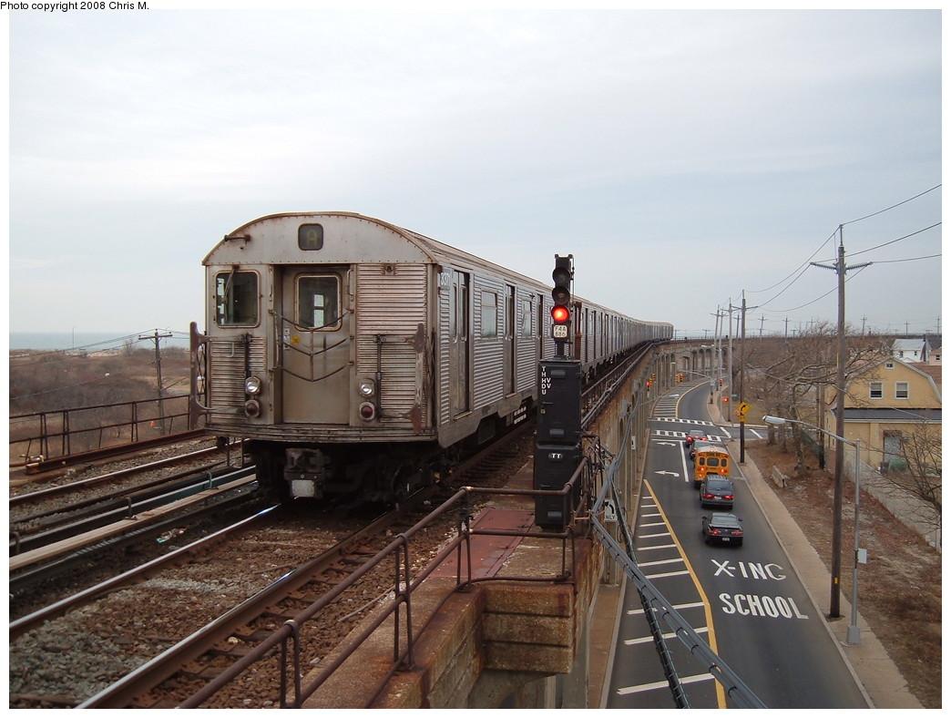 (217k, 1044x788)<br><b>Country:</b> United States<br><b>City:</b> New York<br><b>System:</b> New York City Transit<br><b>Line:</b> IND Rockaway<br><b>Location:</b> Beach 36th Street/Edgemere <br><b>Route:</b> A<br><b>Car:</b> R-32 (Budd, 1964)  3371 <br><b>Photo by:</b> Chris M.<br><b>Date:</b> 1/29/2008<br><b>Viewed (this week/total):</b> 1 / 2295
