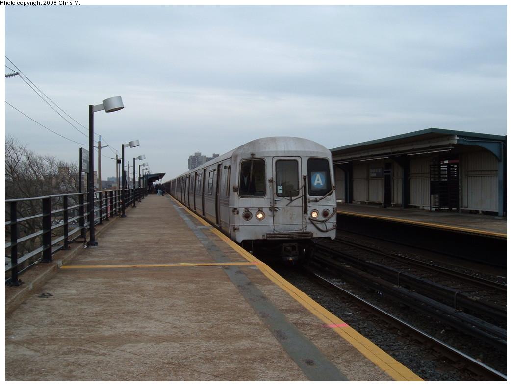 (182k, 1044x788)<br><b>Country:</b> United States<br><b>City:</b> New York<br><b>System:</b> New York City Transit<br><b>Line:</b> IND Rockaway<br><b>Location:</b> Beach 67th Street/Gaston Avenue <br><b>Route:</b> A<br><b>Car:</b> R-44 (St. Louis, 1971-73) 5246 <br><b>Photo by:</b> Chris M.<br><b>Date:</b> 1/29/2008<br><b>Viewed (this week/total):</b> 1 / 1324
