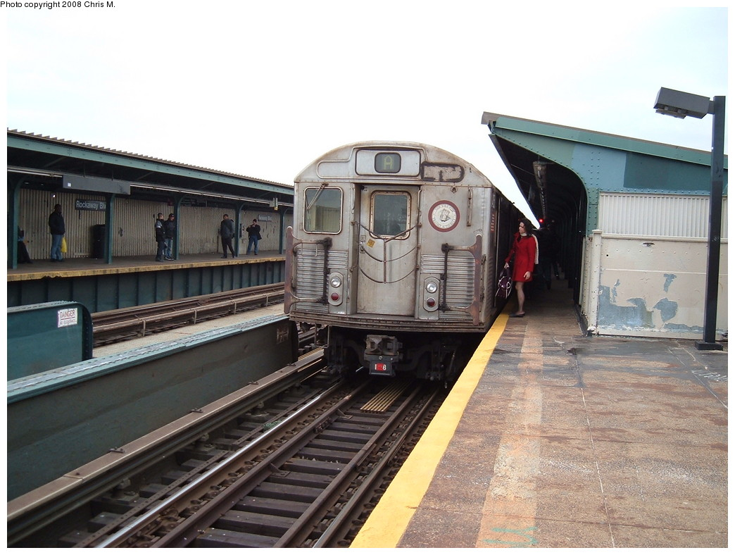 (224k, 1044x788)<br><b>Country:</b> United States<br><b>City:</b> New York<br><b>System:</b> New York City Transit<br><b>Line:</b> IND Fulton Street Line<br><b>Location:</b> Rockaway Boulevard <br><b>Route:</b> A<br><b>Car:</b> R-38 (St. Louis, 1966-1967)   <br><b>Photo by:</b> Chris M.<br><b>Date:</b> 1/29/2008<br><b>Viewed (this week/total):</b> 0 / 1362