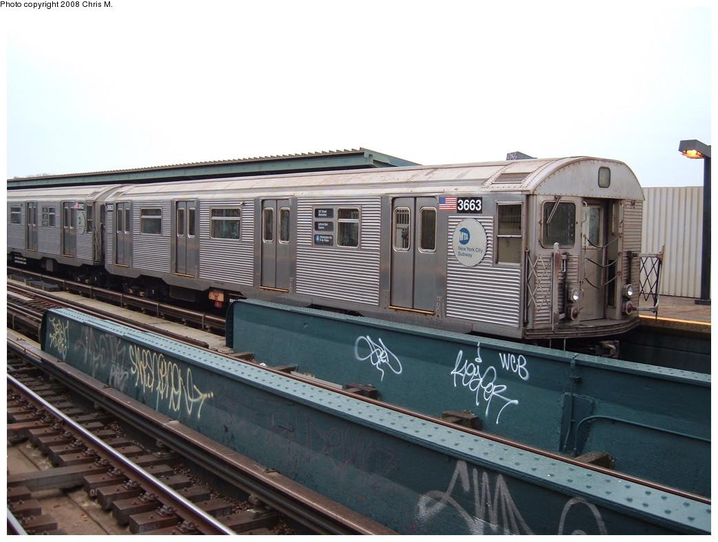 (208k, 1044x788)<br><b>Country:</b> United States<br><b>City:</b> New York<br><b>System:</b> New York City Transit<br><b>Line:</b> IND Fulton Street Line<br><b>Location:</b> 104th Street/Oxford Ave. <br><b>Route:</b> A<br><b>Car:</b> R-32 (Budd, 1964)  3663 <br><b>Photo by:</b> Chris M.<br><b>Date:</b> 1/29/2008<br><b>Viewed (this week/total):</b> 4 / 1912