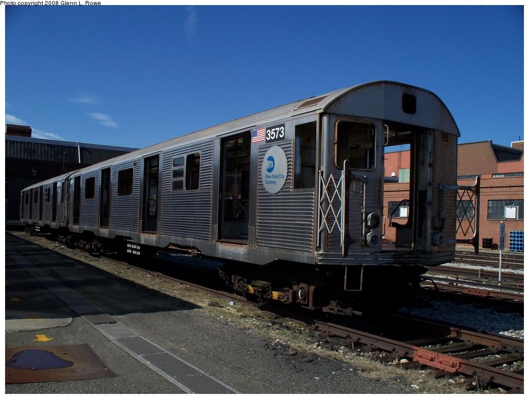 (214k, 1044x788)<br><b>Country:</b> United States<br><b>City:</b> New York<br><b>System:</b> New York City Transit<br><b>Location:</b> 207th Street Yard<br><b>Car:</b> R-32 (Budd, 1964)  3573 <br><b>Photo by:</b> Glenn L. Rowe<br><b>Date:</b> 4/2/2008<br><b>Viewed (this week/total):</b> 0 / 3528