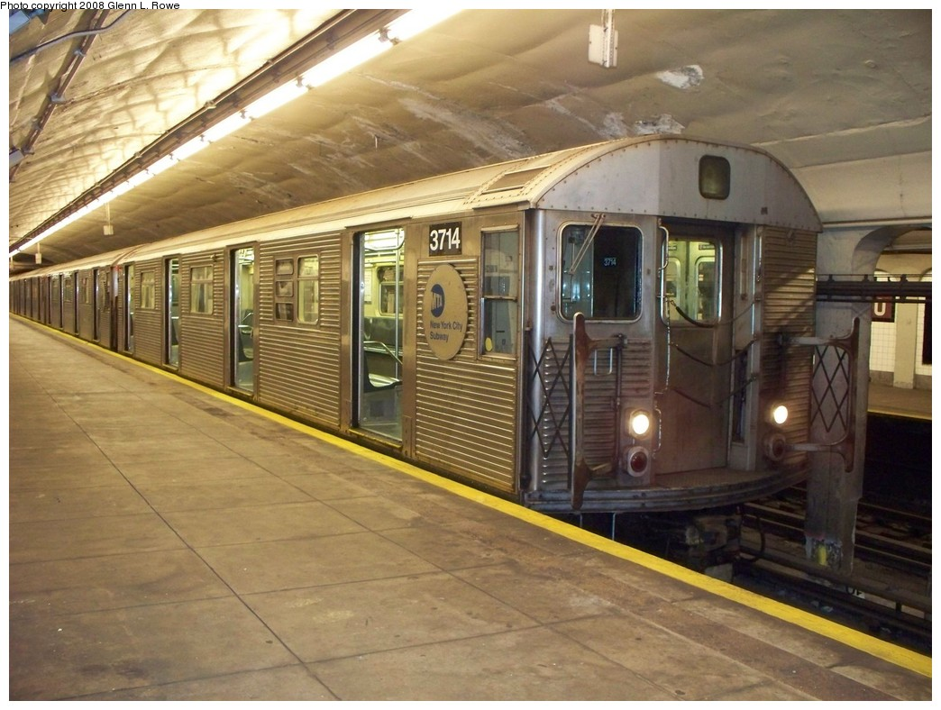 (221k, 1044x788)<br><b>Country:</b> United States<br><b>City:</b> New York<br><b>System:</b> New York City Transit<br><b>Line:</b> IND 8th Avenue Line<br><b>Location:</b> 190th Street/Overlook Terrace <br><b>Route:</b> A<br><b>Car:</b> R-32 (Budd, 1964)  3714 <br><b>Photo by:</b> Glenn L. Rowe<br><b>Date:</b> 4/2/2008<br><b>Viewed (this week/total):</b> 1 / 1798