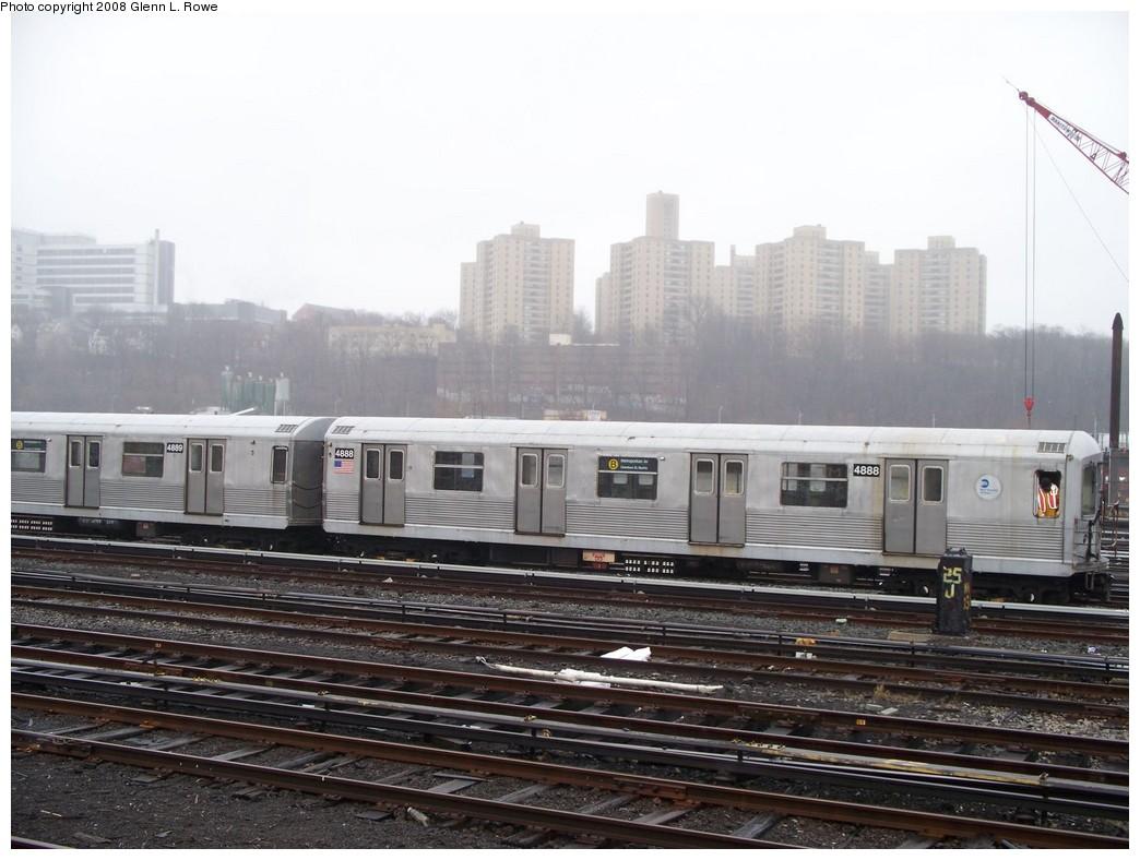 (196k, 1044x788)<br><b>Country:</b> United States<br><b>City:</b> New York<br><b>System:</b> New York City Transit<br><b>Location:</b> 207th Street Yard<br><b>Car:</b> R-42 (St. Louis, 1969-1970)  4888 <br><b>Photo by:</b> Glenn L. Rowe<br><b>Date:</b> 4/4/2008<br><b>Viewed (this week/total):</b> 0 / 1245