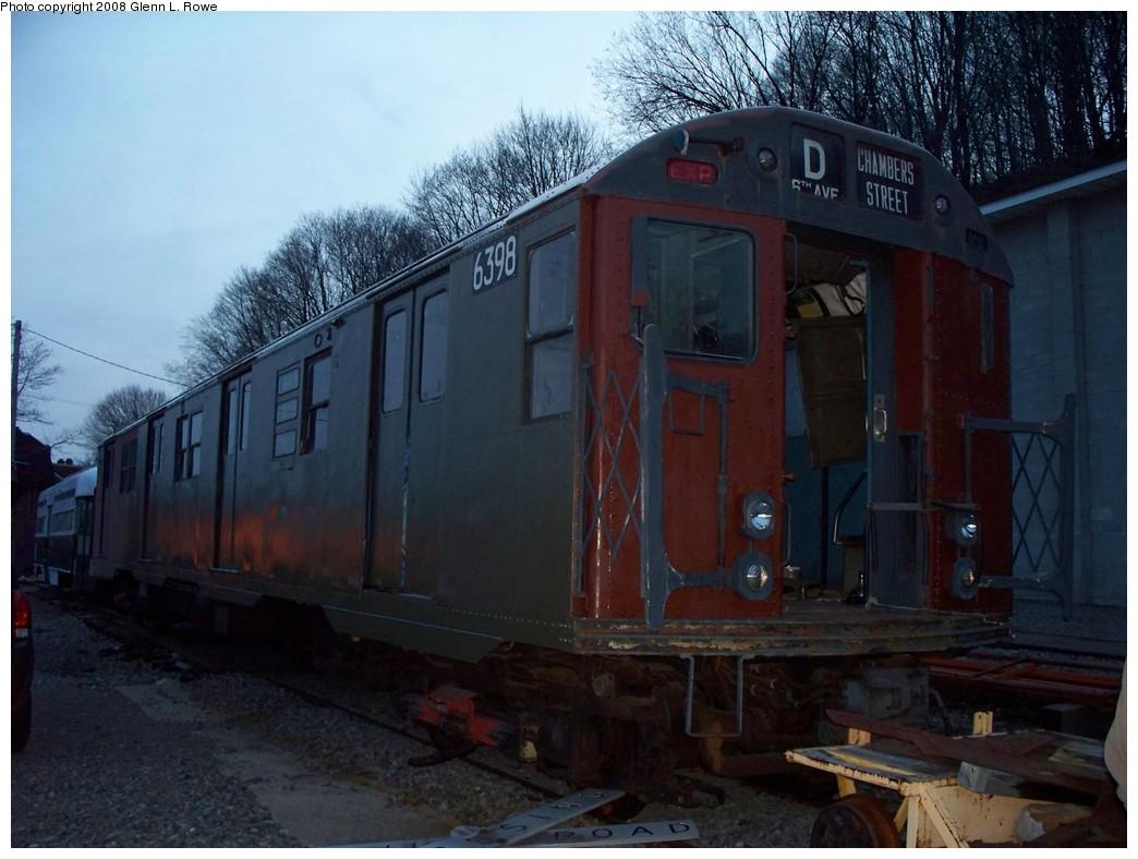 (198k, 1044x788)<br><b>Country:</b> United States<br><b>City:</b> Kingston, NY<br><b>System:</b> Trolley Museum of New York <br><b>Car:</b> R-16 (American Car & Foundry, 1955) 6398 <br><b>Photo by:</b> Glenn L. Rowe<br><b>Date:</b> 4/5/2008<br><b>Viewed (this week/total):</b> 3 / 2431
