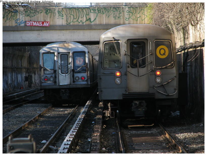 (164k, 820x620)<br><b>Country:</b> United States<br><b>City:</b> New York<br><b>System:</b> New York City Transit<br><b>Line:</b> BMT Brighton Line<br><b>Location:</b> Newkirk Plaza (fmrly Newkirk Ave.) <br><b>Route:</b> Q<br><b>Car:</b> R-68A (Kawasaki, 1988-1989)   <br><b>Photo by:</b> Andrew Johnson<br><b>Date:</b> 4/2/2008<br><b>Viewed (this week/total):</b> 1 / 1936