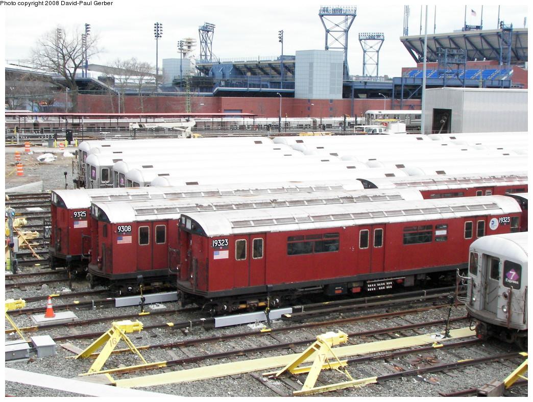 (332k, 1044x788)<br><b>Country:</b> United States<br><b>City:</b> New York<br><b>System:</b> New York City Transit<br><b>Location:</b> Corona Yard<br><b>Car:</b> R-33 World's Fair (St. Louis, 1963-64) 9235/9308/9323 <br><b>Photo by:</b> David-Paul Gerber<br><b>Date:</b> 4/6/2008<br><b>Viewed (this week/total):</b> 9 / 1734