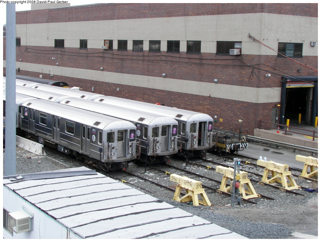(302k, 1044x788)<br><b>Country:</b> United States<br><b>City:</b> New York<br><b>System:</b> New York City Transit<br><b>Location:</b> Corona Yard<br><b>Car:</b> R-62A (Bombardier, 1984-1987)  2103/1971/xx11 <br><b>Photo by:</b> David-Paul Gerber<br><b>Date:</b> 4/6/2008<br><b>Viewed (this week/total):</b> 2 / 1689