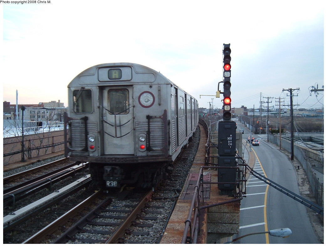 (205k, 1044x788)<br><b>Country:</b> United States<br><b>City:</b> New York<br><b>System:</b> New York City Transit<br><b>Line:</b> IND Rockaway<br><b>Location:</b> Beach 105th Street/Seaside <br><b>Route:</b> A<br><b>Car:</b> R-38 (St. Louis, 1966-1967)   <br><b>Photo by:</b> Chris M.<br><b>Date:</b> 4/5/2008<br><b>Viewed (this week/total):</b> 3 / 1615