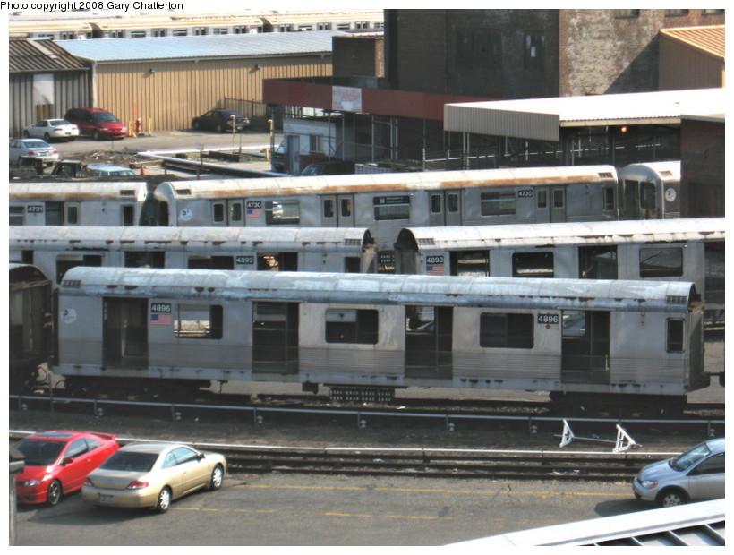 (141k, 820x620)<br><b>Country:</b> United States<br><b>City:</b> New York<br><b>System:</b> New York City Transit<br><b>Location:</b> 207th Street Yard<br><b>Car:</b> R-42 (St. Louis, 1969-1970)  4896/4892/4893/4730 <br><b>Photo by:</b> Gary Chatterton<br><b>Date:</b> 3/11/2008<br><b>Viewed (this week/total):</b> 0 / 1342