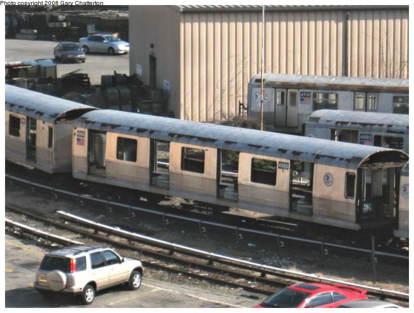 (141k, 820x620)<br><b>Country:</b> United States<br><b>City:</b> New York<br><b>System:</b> New York City Transit<br><b>Location:</b> 207th Street Yard<br><b>Car:</b> R-42 (St. Louis, 1969-1970)  4887/4731/4892 <br><b>Photo by:</b> Gary Chatterton<br><b>Date:</b> 3/11/2008<br><b>Viewed (this week/total):</b> 1 / 1028