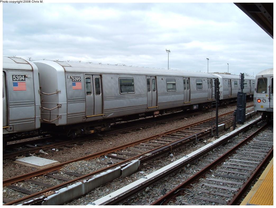 (253k, 1044x788)<br><b>Country:</b> United States<br><b>City:</b> New York<br><b>System:</b> New York City Transit<br><b>Location:</b> Rockaway Park Yard<br><b>Route:</b> A<br><b>Car:</b> R-44 (St. Louis, 1971-73) 5395 <br><b>Photo by:</b> Chris M.<br><b>Date:</b> 4/6/2008<br><b>Viewed (this week/total):</b> 0 / 1558