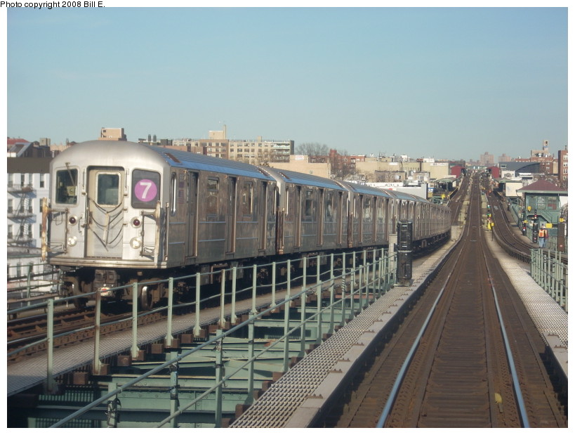 (166k, 819x619)<br><b>Country:</b> United States<br><b>City:</b> New York<br><b>System:</b> New York City Transit<br><b>Line:</b> IRT Flushing Line<br><b>Location:</b> 61st Street/Woodside <br><b>Route:</b> 7<br><b>Car:</b> R-62A (Bombardier, 1984-1987)  1695 <br><b>Photo by:</b> Bill E.<br><b>Date:</b> 4/5/2008<br><b>Viewed (this week/total):</b> 0 / 1564
