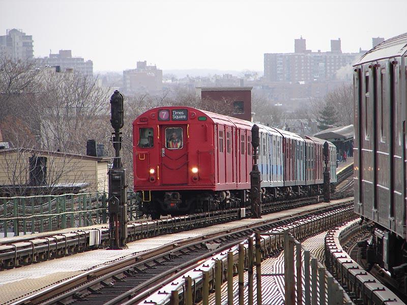 (130k, 800x600)<br><b>Country:</b> United States<br><b>City:</b> New York<br><b>System:</b> New York City Transit<br><b>Line:</b> IRT Flushing Line<br><b>Location:</b> Junction Boulevard <br><b>Route:</b> Museum Train Service (7)<br><b>Car:</b> R-33 Main Line (St. Louis, 1962-63) 9017 <br><b>Photo by:</b> Bob Vogel<br><b>Date:</b> 4/8/2008<br><b>Viewed (this week/total):</b> 1 / 1754