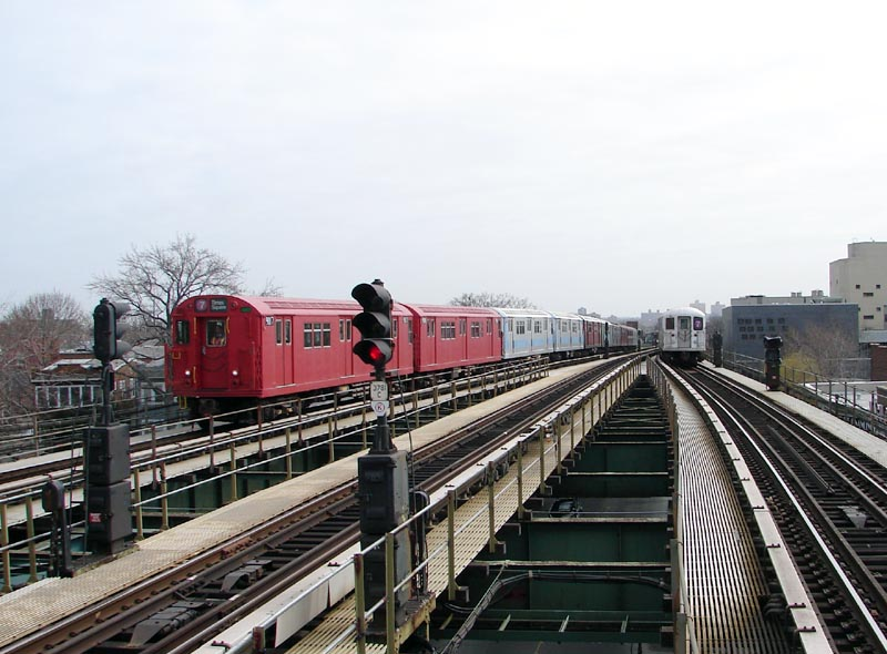 (92k, 800x590)<br><b>Country:</b> United States<br><b>City:</b> New York<br><b>System:</b> New York City Transit<br><b>Line:</b> IRT Flushing Line<br><b>Location:</b> Junction Boulevard <br><b>Route:</b> Museum Train Service (7)<br><b>Car:</b> R-33 Main Line (St. Louis, 1962-63) 9017 <br><b>Photo by:</b> Bob Vogel<br><b>Date:</b> 4/8/2008<br><b>Viewed (this week/total):</b> 1 / 1621