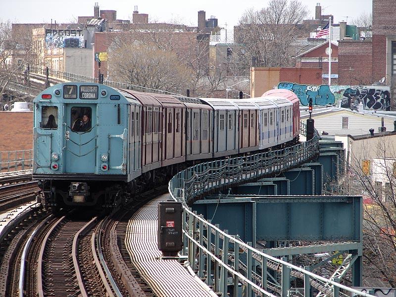 (175k, 800x600)<br><b>Country:</b> United States<br><b>City:</b> New York<br><b>System:</b> New York City Transit<br><b>Line:</b> IRT Flushing Line<br><b>Location:</b> 61st Street/Woodside <br><b>Route:</b> Museum Train Service (7)<br><b>Car:</b> R-33 World's Fair (St. Louis, 1963-64) 9306 <br><b>Photo by:</b> Bob Vogel<br><b>Date:</b> 4/8/2008<br><b>Viewed (this week/total):</b> 0 / 1528