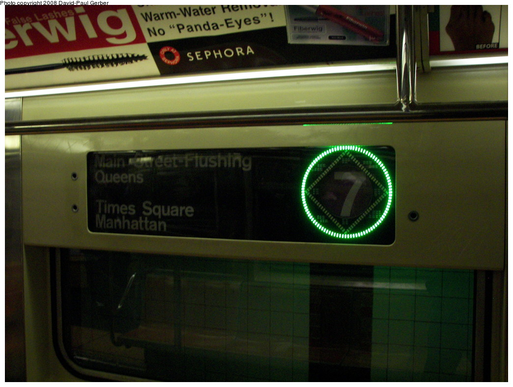 (242k, 1044x788)<br><b>Country:</b> United States<br><b>City:</b> New York<br><b>System:</b> New York City Transit<br><b>Route:</b> 7<br><b>Car:</b> R-62A (Bombardier, 1984-1987)  2150 <br><b>Photo by:</b> David-Paul Gerber<br><b>Date:</b> 4/8/2008<br><b>Notes:</b> Round green led indicates local service.<br><b>Viewed (this week/total):</b> 0 / 2077