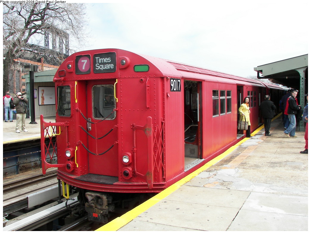 (284k, 1044x788)<br><b>Country:</b> United States<br><b>City:</b> New York<br><b>System:</b> New York City Transit<br><b>Line:</b> IRT Flushing Line<br><b>Location:</b> Willets Point/Mets (fmr. Shea Stadium) <br><b>Route:</b> Museum Train Service (7)<br><b>Car:</b> R-33 Main Line (St. Louis, 1962-63) 9017 <br><b>Photo by:</b> David-Paul Gerber<br><b>Date:</b> 4/8/2008<br><b>Notes:</b> Mets Opening Day Special.<br><b>Viewed (this week/total):</b> 2 / 1394
