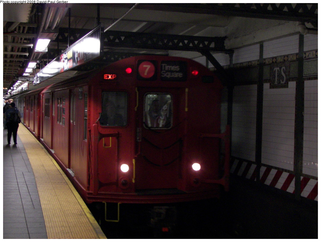 (241k, 1044x788)<br><b>Country:</b> United States<br><b>City:</b> New York<br><b>System:</b> New York City Transit<br><b>Line:</b> IRT Flushing Line<br><b>Location:</b> Times Square <br><b>Route:</b> Museum Train Service (7)<br><b>Car:</b> R-33 Main Line (St. Louis, 1962-63) 9017 <br><b>Photo by:</b> David-Paul Gerber<br><b>Date:</b> 4/8/2008<br><b>Notes:</b> Mets Opening Day Special.<br><b>Viewed (this week/total):</b> 1 / 2665