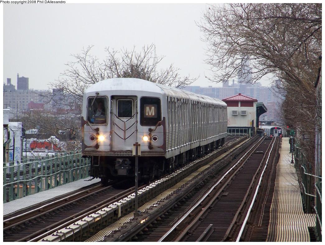 (299k, 1044x788)<br><b>Country:</b> United States<br><b>City:</b> New York<br><b>System:</b> New York City Transit<br><b>Line:</b> BMT Myrtle Avenue Line<br><b>Location:</b> Fresh Pond Road <br><b>Route:</b> M<br><b>Car:</b> R-42 (St. Louis, 1969-1970)  4801 <br><b>Photo by:</b> Philip D'Allesandro<br><b>Date:</b> 4/7/2008<br><b>Viewed (this week/total):</b> 1 / 2024