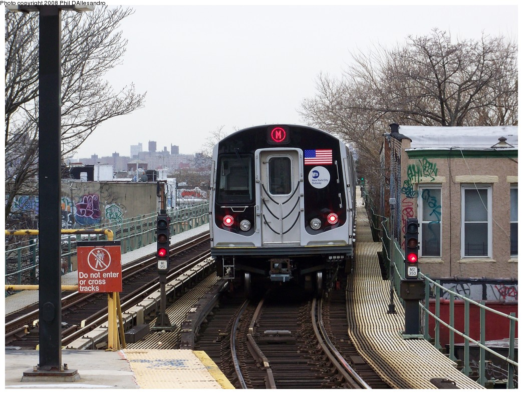 (306k, 1044x788)<br><b>Country:</b> United States<br><b>City:</b> New York<br><b>System:</b> New York City Transit<br><b>Line:</b> BMT Myrtle Avenue Line<br><b>Location:</b> Fresh Pond Road <br><b>Route:</b> M<br><b>Car:</b> R-160A-1 (Alstom, 2005-2008, 4 car sets)  8313 <br><b>Photo by:</b> Philip D'Allesandro<br><b>Date:</b> 4/7/2008<br><b>Notes:</b> First day of full 8-car R160A trains on the M line.<br><b>Viewed (this week/total):</b> 3 / 2673