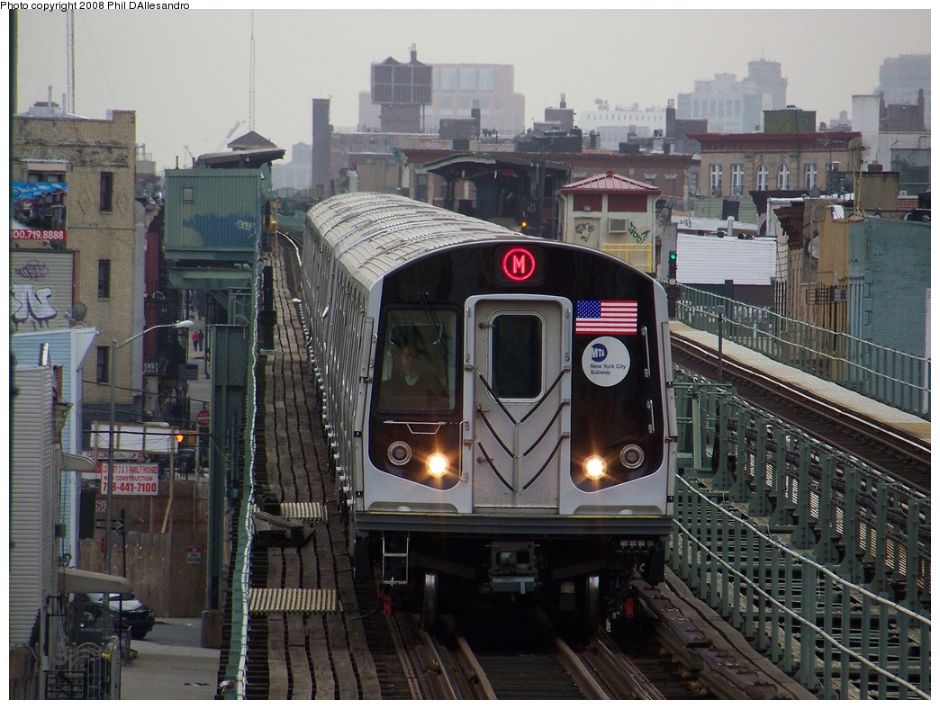 (250k, 1044x788)<br><b>Country:</b> United States<br><b>City:</b> New York<br><b>System:</b> New York City Transit<br><b>Line:</b> BMT Myrtle Avenue Line<br><b>Location:</b> Knickerbocker Avenue <br><b>Route:</b> M<br><b>Car:</b> R-160A-1 (Alstom, 2005-2008, 4 car sets)  8332 <br><b>Photo by:</b> Philip D'Allesandro<br><b>Date:</b> 4/7/2008<br><b>Notes:</b> First day of full 8-car R160A trains on the M line.<br><b>Viewed (this week/total):</b> 2 / 3116