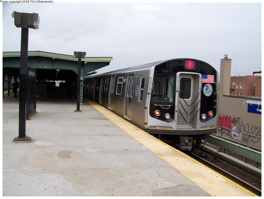 (179k, 1044x788)<br><b>Country:</b> United States<br><b>City:</b> New York<br><b>System:</b> New York City Transit<br><b>Line:</b> BMT Myrtle Avenue Line<br><b>Location:</b> Fresh Pond Road <br><b>Route:</b> M<br><b>Car:</b> R-160A-1 (Alstom, 2005-2008, 4 car sets)  8417 <br><b>Photo by:</b> Philip D'Allesandro<br><b>Date:</b> 4/7/2008<br><b>Notes:</b> First day of full 8-car R160A trains on the M line.<br><b>Viewed (this week/total):</b> 1 / 1899