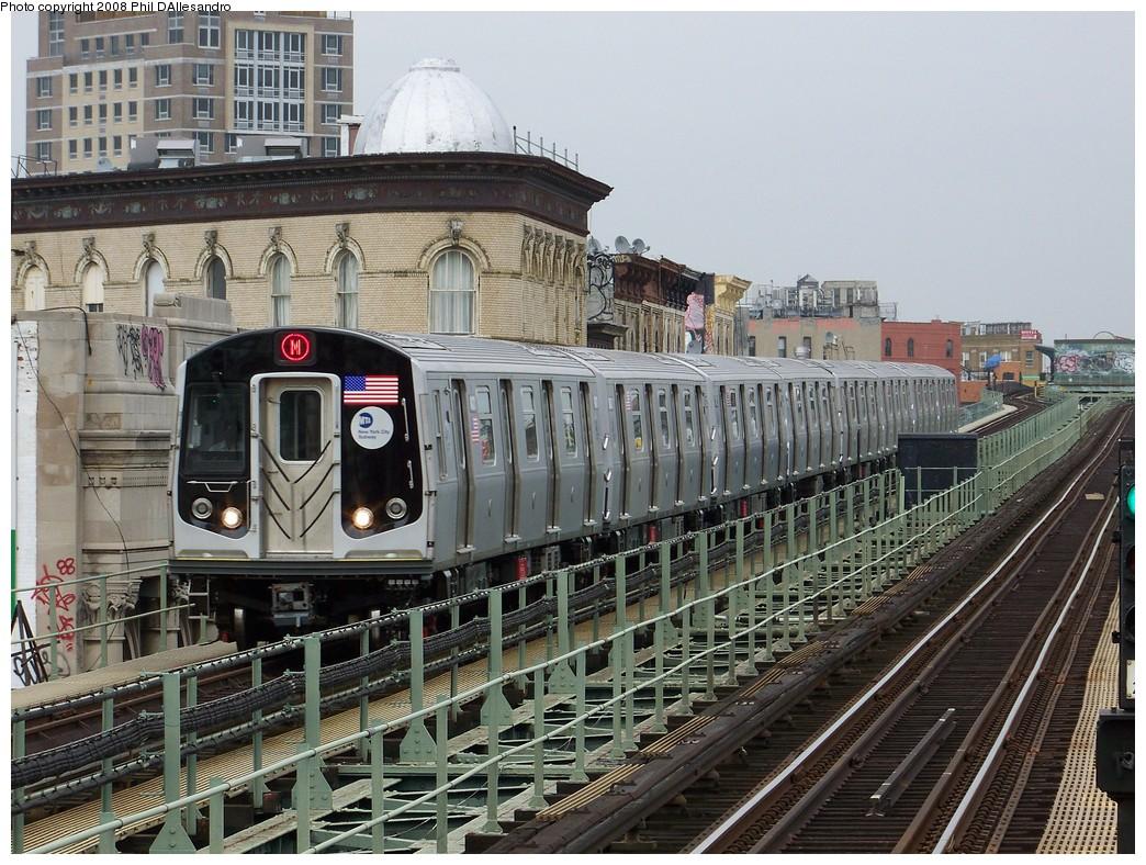 (286k, 1044x788)<br><b>Country:</b> United States<br><b>City:</b> New York<br><b>System:</b> New York City Transit<br><b>Line:</b> BMT Myrtle Avenue Line<br><b>Location:</b> Knickerbocker Avenue <br><b>Route:</b> M<br><b>Car:</b> R-160A-1 (Alstom, 2005-2008, 4 car sets)  8421 <br><b>Photo by:</b> Philip D'Allesandro<br><b>Date:</b> 4/7/2008<br><b>Notes:</b> First day of full 8-car R160A trains on the M line.<br><b>Viewed (this week/total):</b> 0 / 3026