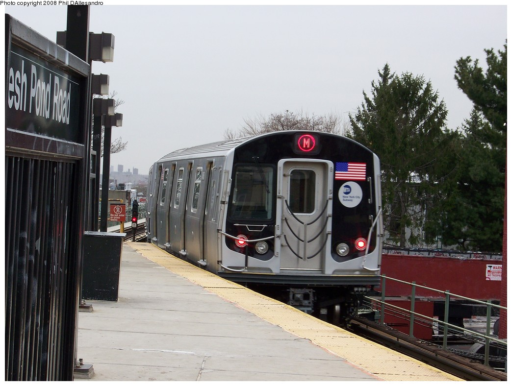 (218k, 1044x788)<br><b>Country:</b> United States<br><b>City:</b> New York<br><b>System:</b> New York City Transit<br><b>Line:</b> BMT Myrtle Avenue Line<br><b>Location:</b> Fresh Pond Road <br><b>Route:</b> M<br><b>Car:</b> R-160A-1 (Alstom, 2005-2008, 4 car sets)  8468 <br><b>Photo by:</b> Philip D'Allesandro<br><b>Date:</b> 4/7/2008<br><b>Notes:</b> First day of full 8-car R160A trains on the M line.<br><b>Viewed (this week/total):</b> 0 / 2634