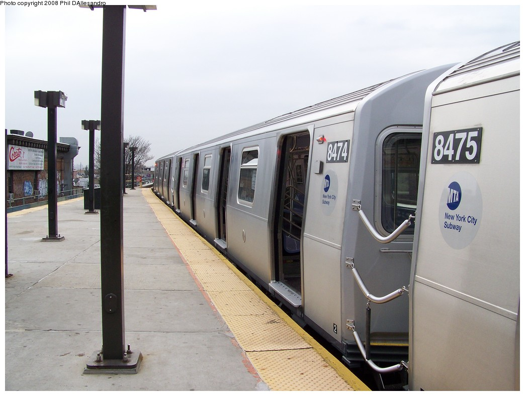(181k, 1044x788)<br><b>Country:</b> United States<br><b>City:</b> New York<br><b>System:</b> New York City Transit<br><b>Line:</b> BMT Myrtle Avenue Line<br><b>Location:</b> Fresh Pond Road <br><b>Route:</b> M<br><b>Car:</b> R-160A-1 (Alstom, 2005-2008, 4 car sets)  8474 <br><b>Photo by:</b> Philip D'Allesandro<br><b>Date:</b> 4/7/2008<br><b>Notes:</b> First day of full 8-car R160A trains on the M line.<br><b>Viewed (this week/total):</b> 1 / 2381