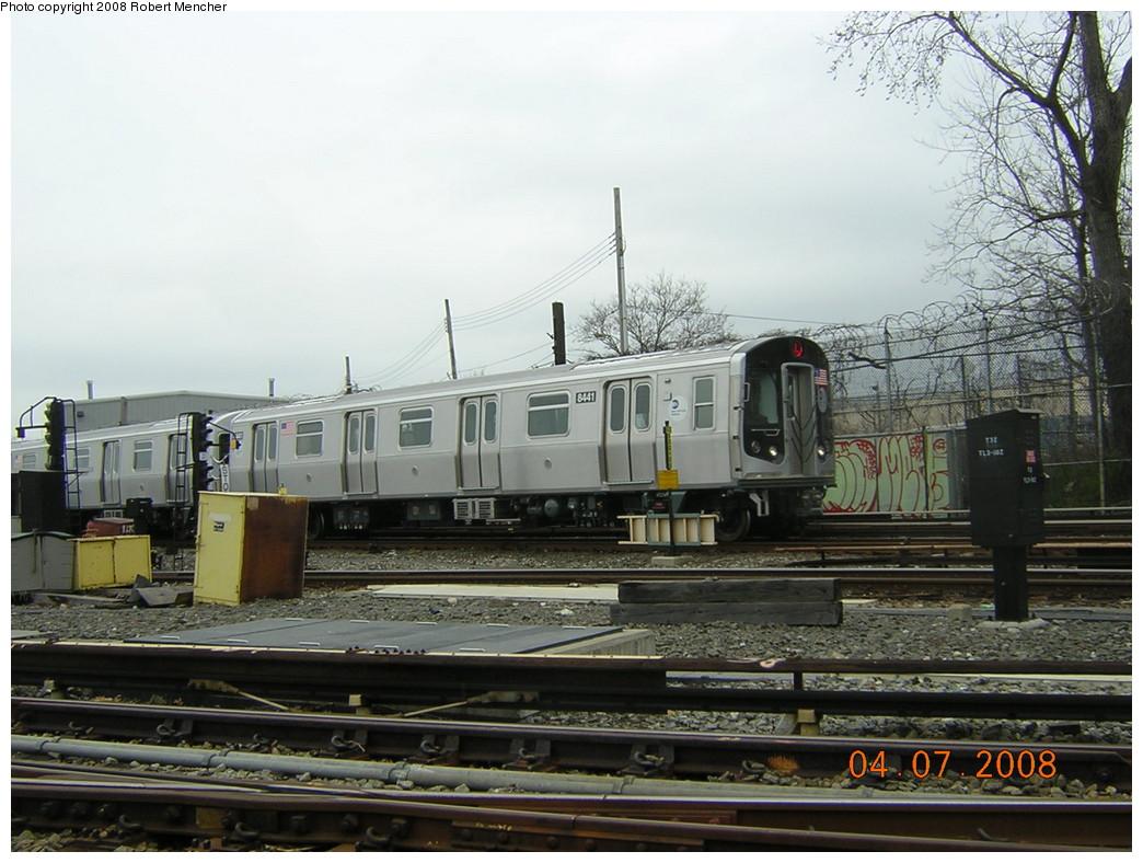 (245k, 1044x788)<br><b>Country:</b> United States<br><b>City:</b> New York<br><b>System:</b> New York City Transit<br><b>Line:</b> BMT Canarsie Line<br><b>Location:</b> Rockaway Parkway <br><b>Car:</b> R-160A-1 (Alstom, 2005-2008, 4 car sets)  8441 <br><b>Photo by:</b> Robert Mencher<br><b>Date:</b> 4/7/2008<br><b>Viewed (this week/total):</b> 2 / 1865