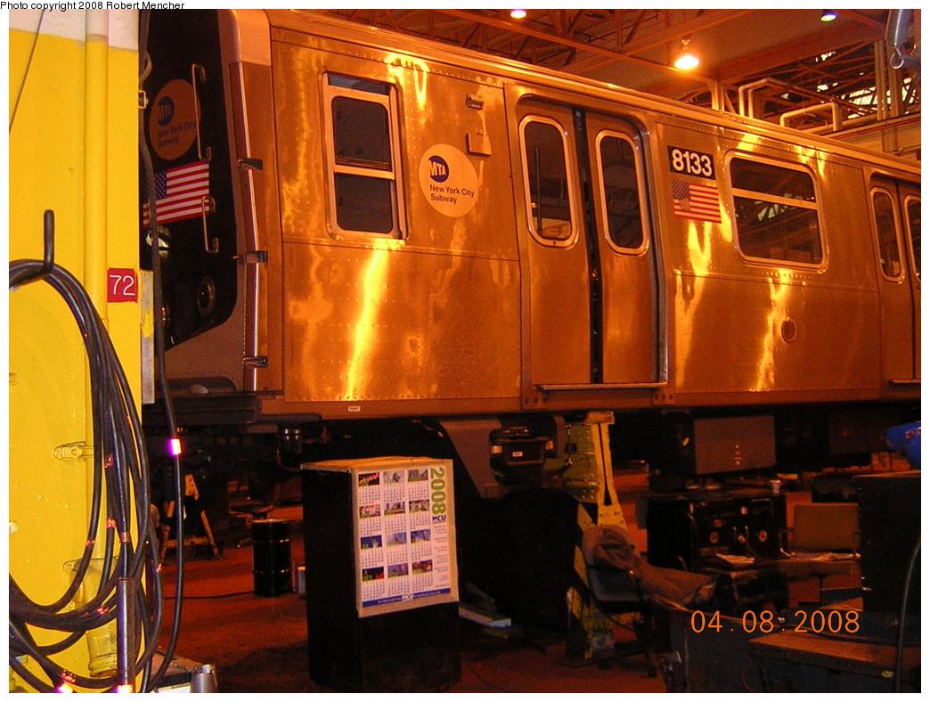 (303k, 1044x788)<br><b>Country:</b> United States<br><b>City:</b> New York<br><b>System:</b> New York City Transit<br><b>Location:</b> Coney Island Shop/Overhaul & Repair Shop<br><b>Car:</b> R-143 (Kawasaki, 2001-2002) 8133 <br><b>Photo by:</b> Robert Mencher<br><b>Date:</b> 4/8/2008<br><b>Viewed (this week/total):</b> 0 / 1183