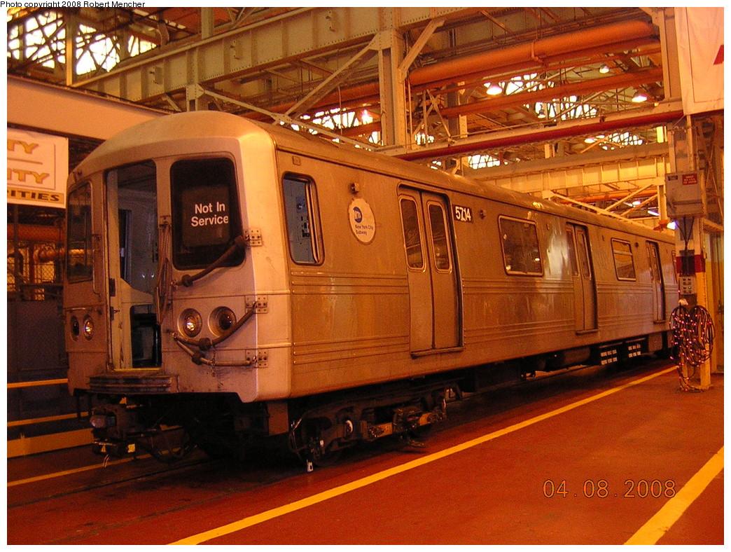 (321k, 1044x788)<br><b>Country:</b> United States<br><b>City:</b> New York<br><b>System:</b> New York City Transit<br><b>Location:</b> Coney Island Shop/Overhaul & Repair Shop<br><b>Car:</b> R-46 (Pullman-Standard, 1974-75) 5714 <br><b>Photo by:</b> Robert Mencher<br><b>Date:</b> 4/8/2008<br><b>Viewed (this week/total):</b> 0 / 1315