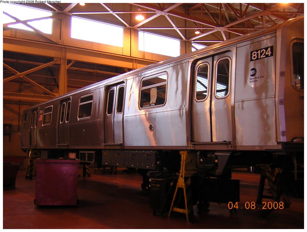 (234k, 1044x788)<br><b>Country:</b> United States<br><b>City:</b> New York<br><b>System:</b> New York City Transit<br><b>Location:</b> Coney Island Shop/Overhaul & Repair Shop<br><b>Car:</b> R-143 (Kawasaki, 2001-2002) 8124 <br><b>Photo by:</b> Robert Mencher<br><b>Date:</b> 4/8/2008<br><b>Viewed (this week/total):</b> 1 / 1336