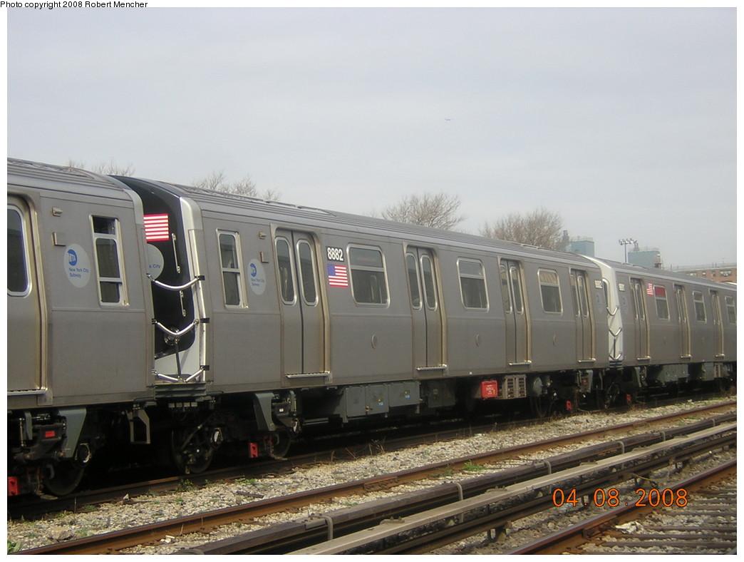 (212k, 1044x788)<br><b>Country:</b> United States<br><b>City:</b> New York<br><b>System:</b> New York City Transit<br><b>Location:</b> Coney Island Yard<br><b>Car:</b> R-160B (Kawasaki, 2005-2008)  8882 <br><b>Photo by:</b> Robert Mencher<br><b>Date:</b> 4/8/2008<br><b>Viewed (this week/total):</b> 0 / 1124