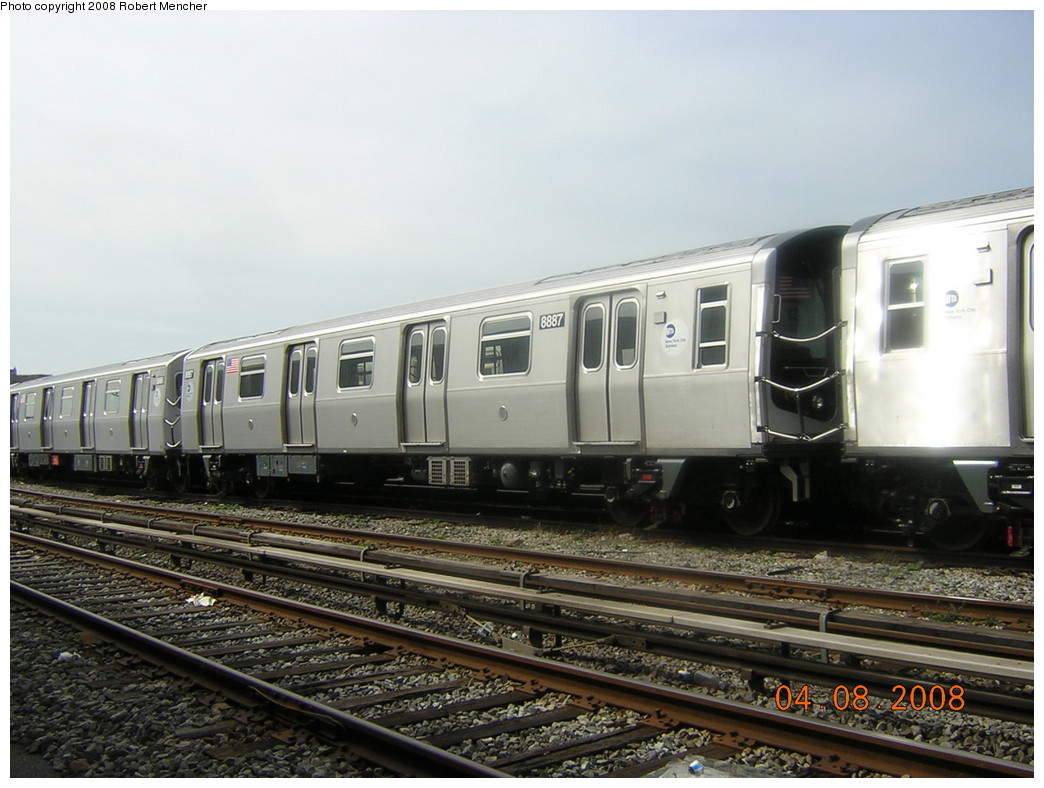 (229k, 1044x788)<br><b>Country:</b> United States<br><b>City:</b> New York<br><b>System:</b> New York City Transit<br><b>Location:</b> Coney Island Yard<br><b>Car:</b> R-160B (Kawasaki, 2005-2008)  8887 <br><b>Photo by:</b> Robert Mencher<br><b>Date:</b> 4/8/2008<br><b>Viewed (this week/total):</b> 0 / 1461