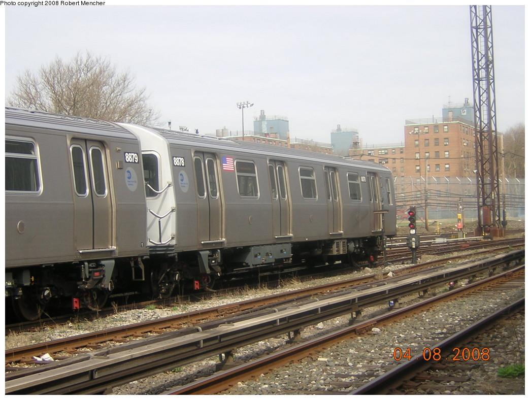 (256k, 1044x788)<br><b>Country:</b> United States<br><b>City:</b> New York<br><b>System:</b> New York City Transit<br><b>Location:</b> Coney Island Yard<br><b>Car:</b> R-160B (Kawasaki, 2005-2008)  8878 <br><b>Photo by:</b> Robert Mencher<br><b>Date:</b> 4/8/2008<br><b>Viewed (this week/total):</b> 0 / 1128